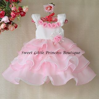New Girls Party Dresses Kids Pink Rose Princess Dress for Children Flower Dress