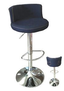 Set 2 Modern Adjustable Swivel Denim w Back Pockets Bar Stools Counter Chair