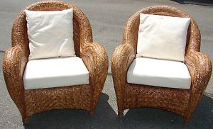 Set of Pottery Barn Wicker High Back Chairs with Large Arm Rests and Cushions