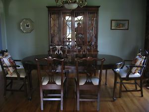 Stickley Black Cherry Wood Dining Table Chairs