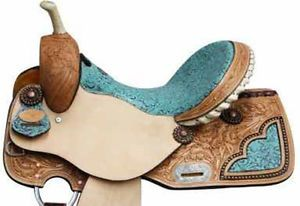 "Beautiful New Design 16"" inch Seat Filigree Pattern Tooled Barrel Racer Saddle"