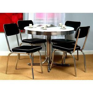 Retro Style Kitchen Metal Chrome 5 Piece Round Edge 50s Dinner Table Chair Set