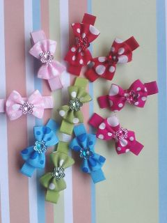 5 Pairs Boutique Hair Bows Girls Baby Alligator Clip 5 Colors Handmade 10 Pcs