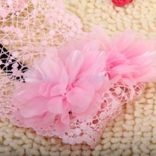 6 24 Month Baby Girl Flower Lace Wide Headband Elastic Hair Accessories Pink