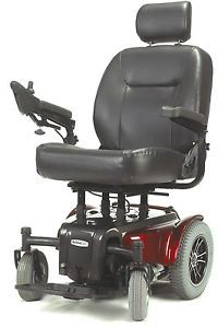 "Medalist 450 Heavy Duty Red Electric Power Chair Wheelchair 22"" Captain Seat"