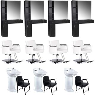 Beauty Salon Equipment Styling Station Chair Shampoo Backwash Unit Package EB 62