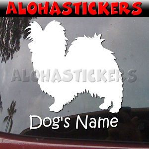 Custom Papillon Dog Breed Car Truck Laptop Moped Vinyl Decal Window Sticker B348