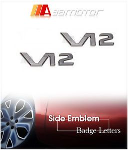 2X 3D Mercedes Benz V12 Side Emblem Letters Badge Black Chrome Finish Letter AMG
