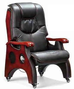 Heavy Duty Executive Office Chair Real Leather 4 Legs