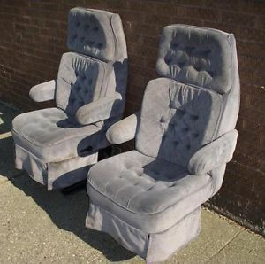 1995 Ford Econoline Tradewinds Van Bluish Gray Cloth Front Seats Captain Chairs