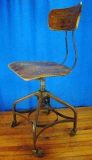 Antique Vtg Industrial Wood Metal Uhl Toledo Chair Stool Seat Loft Factory