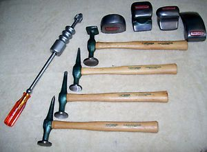 9 PC Used Some Very Nice Craftsman Auto Body Tools Hammers Dollies Dent Puller