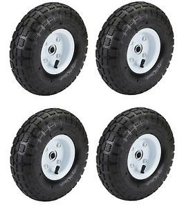 "4 Tires 10"" Steel Air Pneumatic Hand Truck Dolly Wagon Industrial Wheel New"