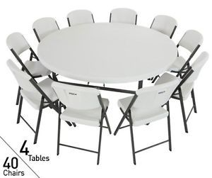 4 Tables 40 Chairs Lifetime 72 in Commercial Round Tables Chairs 80145