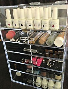 Clear Acrylic Makeup Organizer 5 Drawer with Top Lid Free Dividers