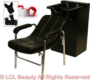 New Black Ceramic Shampoo Bowl Sink Cabinet Styling Chair Barber Salon Equipment