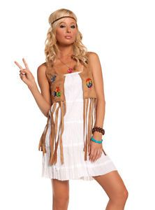 Hippie Flower Child 60s Dress Sexy Adult Womens Halloween Costume L
