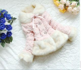 Baby Girls Coat Jacket Winter Christmas Pink Beige White Faux Fur Infants