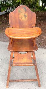 Vintage Wooden Bear Rake Veggies Baby Folding High Chair Desk Walker Decal