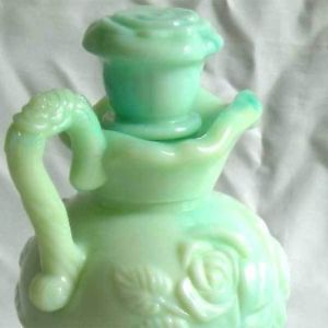 Vtg Avon Victoriana Rose Green Swirl Jadeite Glass Pitcher Bowl Milk Decanter