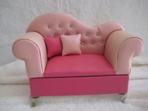 Pink Faux Leather Sofa Jewelry Box for Barbie Doll's House Dollhouse Furniture