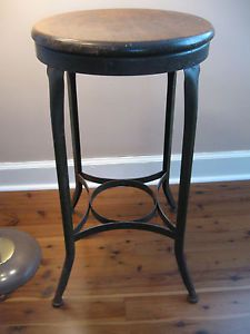 Vtg Industrial Toledo Stool Machine Age Uhl Steel Furniture Co Antique Art Deco