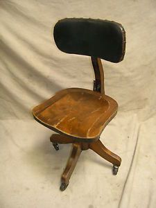 Antique Vintage Industrial Machine Age Wood Leather Swivel Office Desk Chair