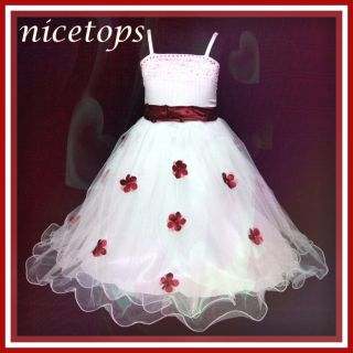 CC DD Feb R408 Reds Whites Christmas Wedding Party Girls Flower Dress Size 1 2T