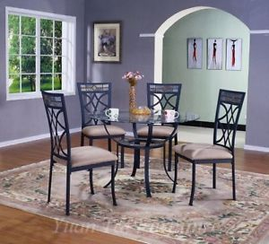 5pc Traditional Glass Top Table Chairs Dining Room Set ZYTDU4560T