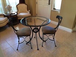 Cast Iron Bistro Set Glass Top Table with 2 Cushioned Chairs from Macy'S