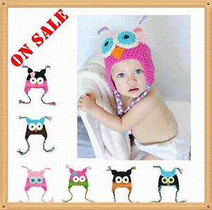 Cute Owl Crochet Knit Handmade Baby Girl Toddler Beanie Hat Newborn 2T on Sale