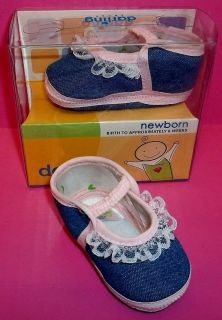 Darling 397 Baby Girl Infant Newborn Lace Pink Denim Shoes