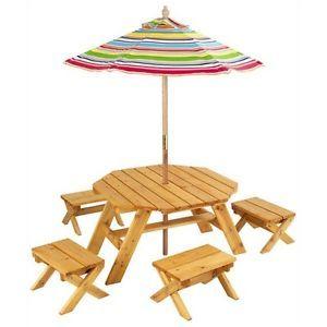 Kids Indoor Outdoor Picnic Table Wood Patio Set Umbrella Wooden Stools Benches