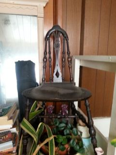 Antique Dark Wood Ornately Carved Saddle Seat Chair Original Patina