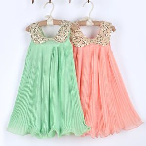 1pc Baby Girls Kids Chiffon Sequins Pleated Ruched Dresses Skirt Party Clothes