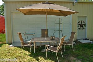 Hampton Bay Outdoor Patio Dining Set 8 PC Stone Table Top Serving Cart