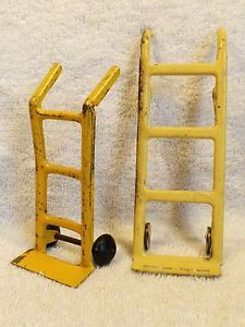 Vintage Pressed Steel Yellow Two Wheel Dollies Hand Carts Toys Wyandotte Marx