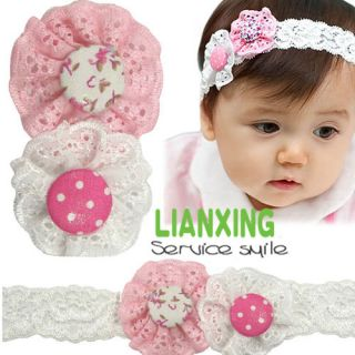 Baby Kids Toddler Girl Kids Cloth Cute Flowers Buttons Lace Head Hairband