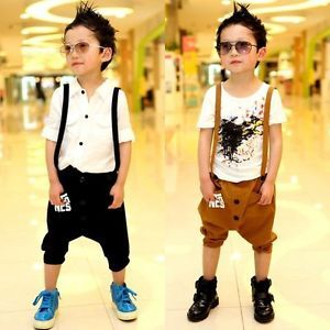 Baby Kids Boy Casual Funky Removable Suspender Harem Trouser Shorts Pant 2 7 Yrs