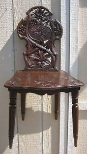 Antique Black Forest Carved Walnut Chair Brienz Switzerland Edelweiss Flowers