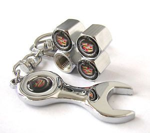 Cadillac Emblem Wheel Tyre Tire Valve Stems Caps Air Dust Covers Wrench Keychain