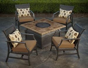 "New 5 Piece Fire Pit Chat Set 42"" Square Porcelain Top Table 4 Rocking Chairs"