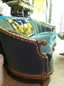 Antique Art Deco Sofa Chair Set Hand Carved Wood Victorian Furniture