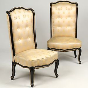 Pair of French Art Deco Period Louis XV Style Antique Side Chairs C 1920 40