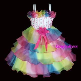 New Flower Girl Pageant Wedding Party Bridesmaid Dress Multi Color SZ 3 4T A718A