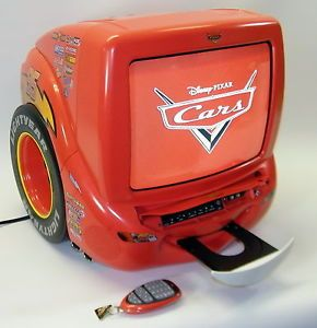 "13"" Disney Pixar Cars Lightning McQueen CRT TV Television DVD Combo with Remote"