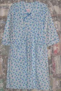 Vintage Womens Cotton Flannel Snap Front Robe House Coat Duster w Tags Mint