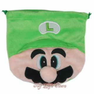 Super Mario Bros Luigi Birthday Party Favor Candy Drawstring Plush Bag Green