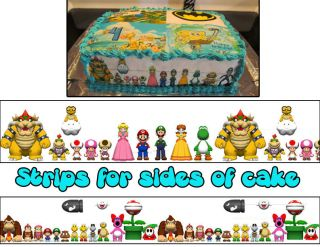 Super Mario Bros Birthday Strips Side of Cake Topper Edible Icing Sheet Sugar