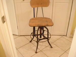Vintage Toledo Drafting Stool machine age Industrial chair Steampunk